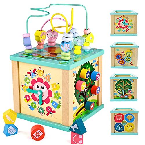 yoptote Gioco Montessori Tavolino Bambini con Labirinti di Perline