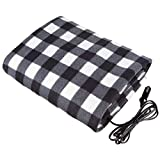 Car Electric Blanket 12V Fleece Electric Heated Travel Blanket for Car and RV-Great for Cold Weather (Grey/White)