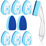 Dish Wand Sponge Set, Includes Soap Control Dish Wand Refillable Dish Washing Handles and Replacement Head Sponge Non-Scratch Cleaning (Blue, 9 Pieces)