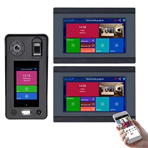 Timbre con video inalámbrico WiFi, cámara de visión nocturna, intercomunicador teléfono con videoportero de 7 pulgadas, reconocimiento facial, huellas dactilares, desbloqueo de la APP,2 monitors