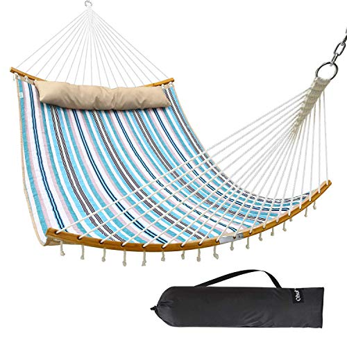 Ohuhu Double Hammock with Detachable Pillow, New Curved-Bar Design Strong Bamboo Hammock Swing with Carrying Bag, 4.6'W x 6.2'L, Blue & White Stripe Idea