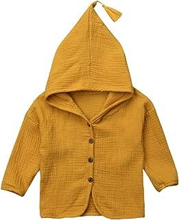 Baby Kids Girl Cotton Linen Botton Long Sleeve Hooded Coat Jacket Outwear Top