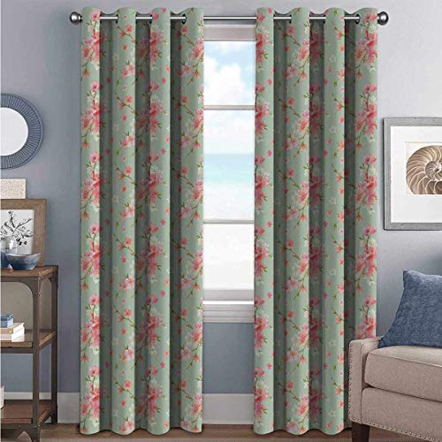 Annery Shab Chic High-Strength Blackout Curtains Retro Spring Blossom Flowers French Garden Florets Garland Artisan Image for Bedroom, Kindergarten, Living Room W120 x L84 Inch Mint Pink