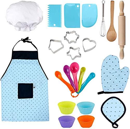 Queta Juego de Juguetes de Cocina Chef Set Delantales para niños Juegos de rol de Cocina para niños Juego de Cocina y Hornear (23 Piezas)