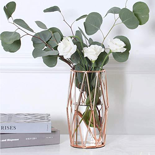 Geometrische Glasblumenvase Metallhalter, kristallklare transparente Pflanzer Blumenvase, handgefertigte Beschichtung Metallvase, klare Vase dekorativ für Home Office Hochzeitsfeiertag feiern