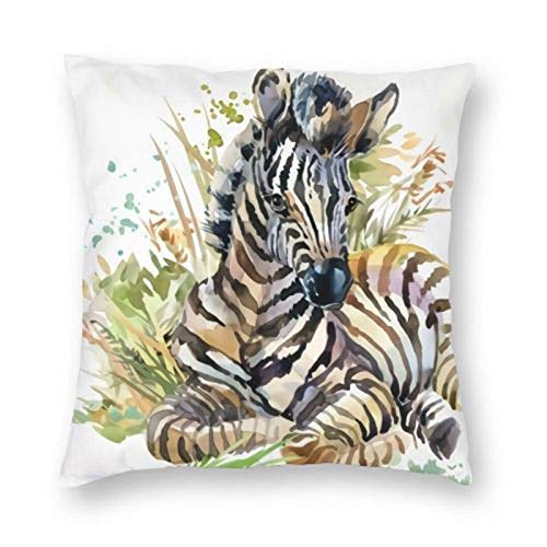 Lsjuee Wild Animal Watercolor Black White Striped Zebras with Grass Leaf Velvet Throw Pillow Cover Home Decorative Pillow Case Cushion Cover 18 x 18 inch
