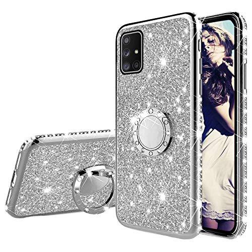Misstars Glitzer Hülle für Galaxy A71 Silber, Bling Strass Diamant Weiche TPU Silikon Handyhülle Anti-Rutsch Kratzfest Schutzhülle mit 360 Grad Ring Ständer für Samsung Galaxy A71