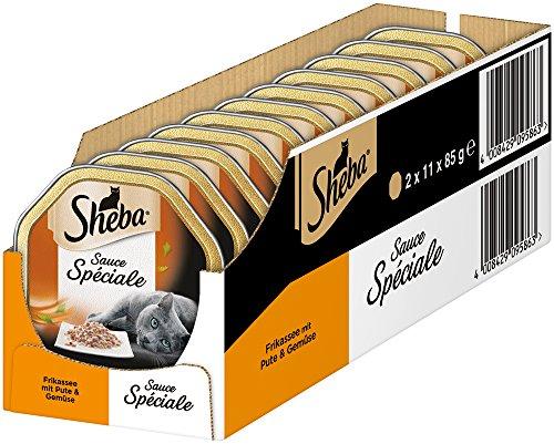 Sheba Sauce Spéciale Kattenvoer, Frikassee Pute & Fruit, Gehydrateerd, 22 Schalen Verpakking (2 x 11 x 85 g)