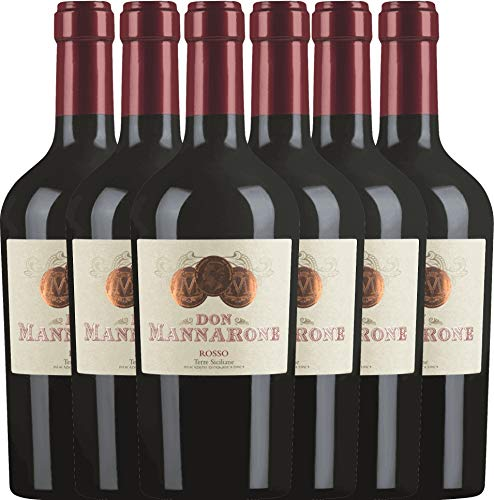 VINELLO 6er Weinpaket Rotwein - Don Mannarone Rosso Terre Siciliane 2019 - Mánnara mit Weinausgießer | lieblicher Rotwein | italienischer Wein aus Sizilien | 6 x 0,75 Liter