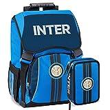 F.C. Inter Schoolpack Zaino Scuola Estensibile più Astuccio 3 Zip Completo di Cancelleria