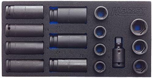 Hazet Steckschlüssel-Satz 163-463/15 ∙ Vierkant hohl 12,5 mm (1/2 Zoll) ∙ Außen-Sechskant-Tractionsprofil ∙ Anzahl Werkzeuge: 15