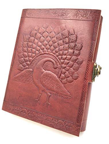 Kooly Zen Notizblock, Tagebuch, Buch, echtes Leder, Vintage, Metallverschluss, Pfau, 13 cm x 17 cm, Premiumpapier