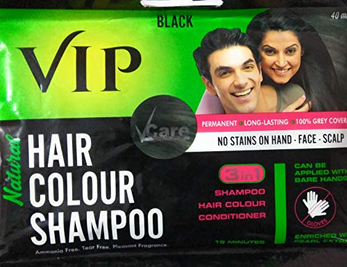 Vip 3 In 1 Hair Colour Shampoo (40 Ml) - Pack Of 6