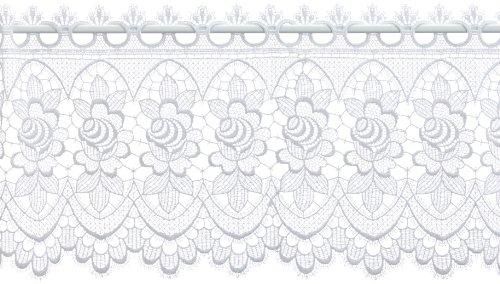 Plauener Spitze by Modespitze, Store Bistro Gardine Scheibengardine mit Stangendurchzug, hochwertige Stickerei, Höhe 32 cm, Breite 176 cm, Weiß