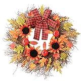 Cgration - Corona de acción de gracias, diseño de hojas de arce para colgar en la puerta, decoración artificial, ideal para otoño, Halloween, día de Acción de Gracias, decoración interior y exterior