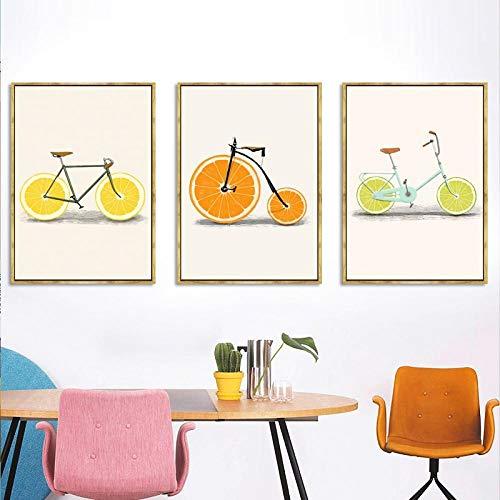 Abstract Fashion Bike Lemon Orange Fruit Print Canvas Paintings Kitchen Decor Nordic Posters Minimalist Wall Art Pictures 40X60cmx3 No Frame