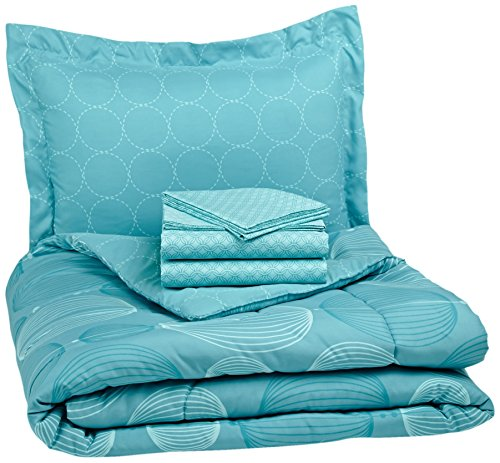 AmazonBasics 5-Piece Light-Weight Microfiber Bed-In-A-Bag Comforter Bedding Set - Twin or Twin XL, Industrial Teal