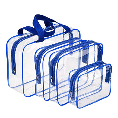 Hotop 4 Pieces Clear Make-up Bags Travel Toiletry Bag Organizers for Traveling, Business Trip and School, Water-proof (Blue)