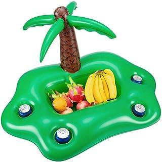 Soporte de Bebida de Flotador de Piscina Inflable, Ensalada de Bebidas Barra de Servicio de Frutas Accesorios de Fiesta de Flotador de Piscina para Verano Playa Ocio Portavasos