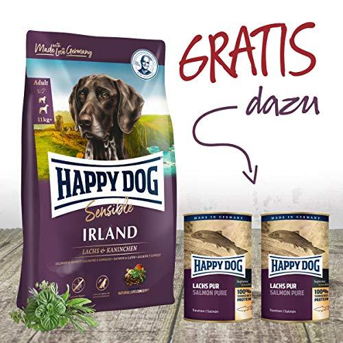 Happy Dog Irland Premium Hundefutter 12,5 kg + Gratis 2 x 375 g Dosen Lachs pur. EIN tolles Gefühl seinem Hund was Gutes zu tun.