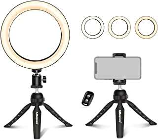 """UBeesize 8"""" Tabletop Ring Light with Mini Tripod Stand & Cell Phone Holder for Live Stream/Makeup, Mini Led Camera Ringlig..."""