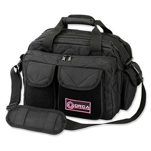 Orca Tactical Ladies Gun Range Bag for Women Handgun Pistol and Ammo Duffle Carrier (Black/Pink)