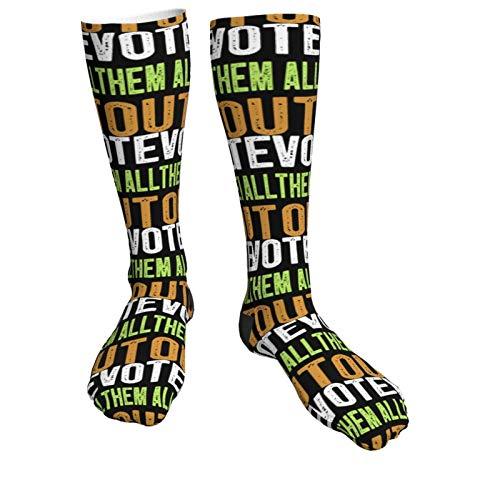 Hangdachang Medias unisex Vote Them All Out Deportes Gruesos calcetines de tacón alto negro de la rodilla al muslo