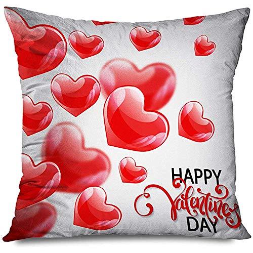 Aoyutiy decoratief kussensloop Happy Lover Sweetheart romantische vakantie vliegen decor teken rode textuuren ballon kussensloop met ritssluiting