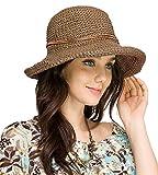 Urban GoCo Femmes Mode Plage Capeline Anti-Uv Bow Décoration Bord Large Paille Chapeau De Soleil (Marron)