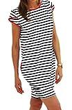 Sommer SeXy Tunika Marine Kleid mit Taschen Kurzarm Urlaub (343) (L)