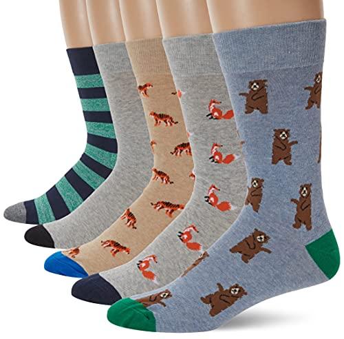 Goodthreads 5-Pack Patterned Socks Calze, Multicolore (Assorted Animals Green), Large Taglia Produttore Shoe Size 8-12, Pacco da 5