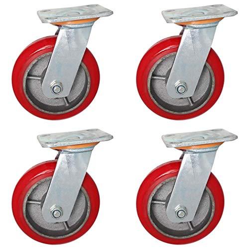 YVX 4 Ruedas de Alta Resistencia, Ruedas universales silenciosas, Ruedas de Repuesto, rodamientos de Alta Carga, Rodillos de 250 KG para Muebles, Mesa de Carro