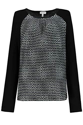 GINA LAURA Damen Shirt, Vorderseite gestreift, Zierfalten schwarz L 726994 10-L