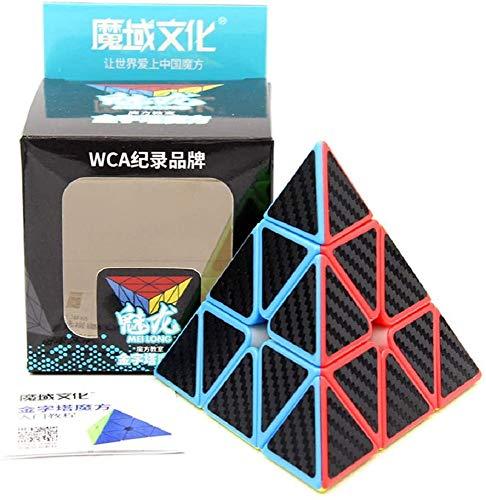 MoYu MFJS MoFangJiaoShi Cubing Classroom Meilong Etiqueta de Fibra de Carbono 3x3 Pyraminx Pyramid Triangle Cuatro Ejes Magic Speed Puzzle Cube Juguete de Giro Suave