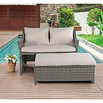 OC Orange-Casual 2-Piece Outdoor Patio Furniture Wicker Love-seat and Coffee Table Set with Built-in Storage Bin Grey Rattan Beige Cushions
