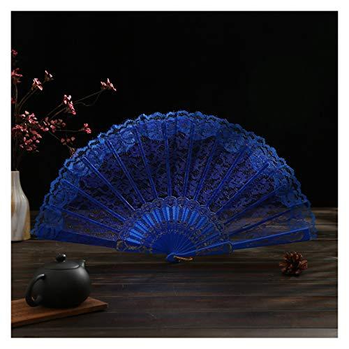 WHBGKJ Abanico Plegable 1 unids Patrón de Flores portátil Patrón Plegable Fan de Estilo Chino Fiesta de Boda Seda Plegable Mano Fan Regalos Bolsa Fans Decorativas (Farbe : Blau)