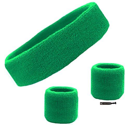 Kenz Laurenz Sweatband Set Cotton Sports Headband Terry Cloth Wristband Moisture Wicking Sweat Absorbing Head Band Athletic Exercise Basketball Wrist Sweatbands and Headbands (Green)