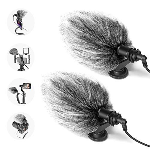 Neewer 2pz Microfono CM14 On-camera per Video con Supporto Anti-vibrazione, Cappuccio Antivento & Cavi Audio, Compatibile con iPhone, Android Smartphone, DSLR & Videocamere