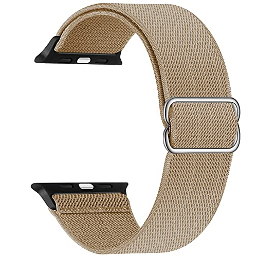 Adjustable Stretchy Band Compatible with Apple Watch 44mm 42mm 40mm 38mm, Solo Loop Sport Elastic Stretch Scrunchie Braided Cute Nylon Strap for iWatch SE 6 5 4 3 2 1, Men Women, Khaki