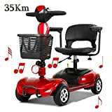 4 Wheel Electric Mobility Scooter Folding Lightweight,Foldable Wheelchair 42cm Wide Seat,Seniors Power Chair Travel Portable Heavy Duty,300w 20ah Batterry Endurance 35 Km,high Power Charger