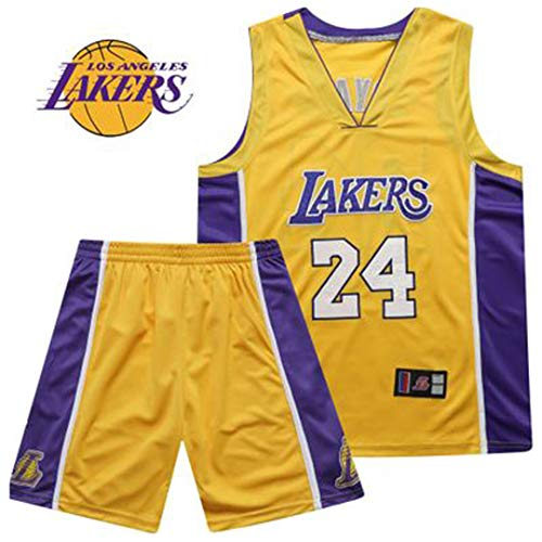 GLMAS Lakers # 24 Bryant Camiseta de Baloncesto para Adultos, Camiseta de Baloncesto sin Mangas, Chaleco Deportivo y pantalón Corto, Camiseta de Baloncesto Bordada (S-3XL) Yellow-M