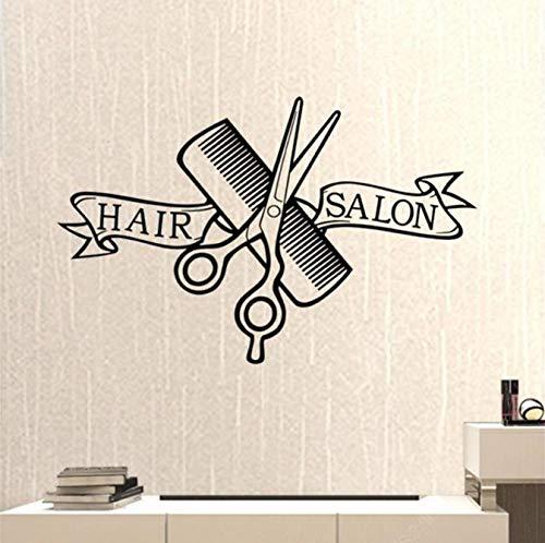 Aufkleber für Friseursalon, Friseurladen, Scheren, Haarschneider, neutraler Haarschnitt, Vinyl, Wanddekoration, Fensterdekoration, 43 x 67 cm