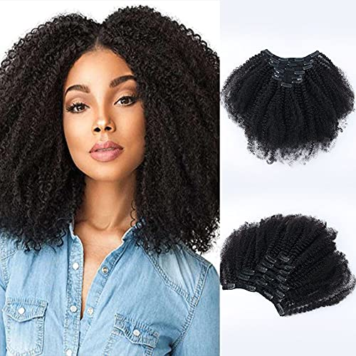 SixStarHair 120g 18inch Afro Curly Natural Hair Clip In Extensions For African American Women Beautiful 3C 4A Natural Black Hair Color Grade 8A Remy Human Hair 7 Pieces