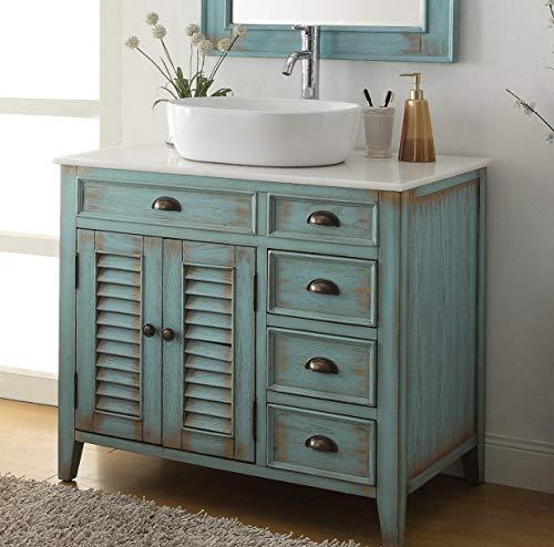 36' Benton Collection Distress Blue Abbeville Vessel Sink Bathroom Vanity CF-78886BU