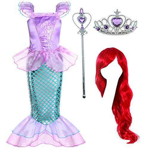 Joy Join Little Girls Princess Mermaid Costume for Girls Dress Up Party with Wig,Crown, Mace 4-5 Years