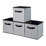 BrilliantJo Cubos de Almacenaje, Cajas Plegables de Tela con Doble Mango, para Casa, Oficina, Zigzag Gris/Blanco, 4 pcs, 30x30 x30 cm