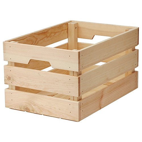 IKEA knagglig Vintage unlackiert Holz Box Korb | Box für Zuhause oder Büro Aufbewahrung und Organisation mit Griffen [Große Box]