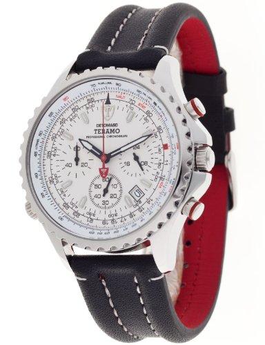 Detomaso Teramo Silver DT1029-B DT1029-B - Reloj cronógrafo de Cuarzo para Hombre, Correa de Cuero Color Negro (cronómetro)