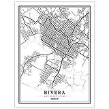YUAN Leinwand Bild,Uruguay Rivera Stadt Karte Schwarz Weiß