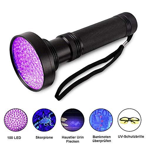 UV Taschenlampe LED Schwarzlicht mit UV Schutzbrille 100 LEDs Licht,395nm Ultraviolett Lampe für Bernstein Geocaching Jagd,Haustier Urin Detektor für Eingetrocknete Urin Flecken Der Hunde und Katzen